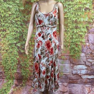 Reba Floral Print Silk Blend Midi Dress